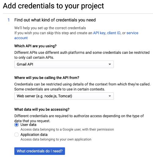 Aggiungi credenziali al progetto