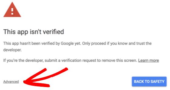 Errore quest'app non é verificata