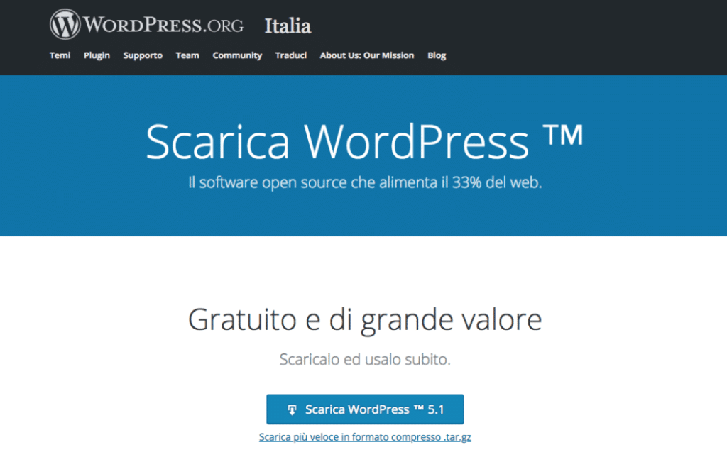 Scaricare il core su https://it.wordpress.org e installare WordPress