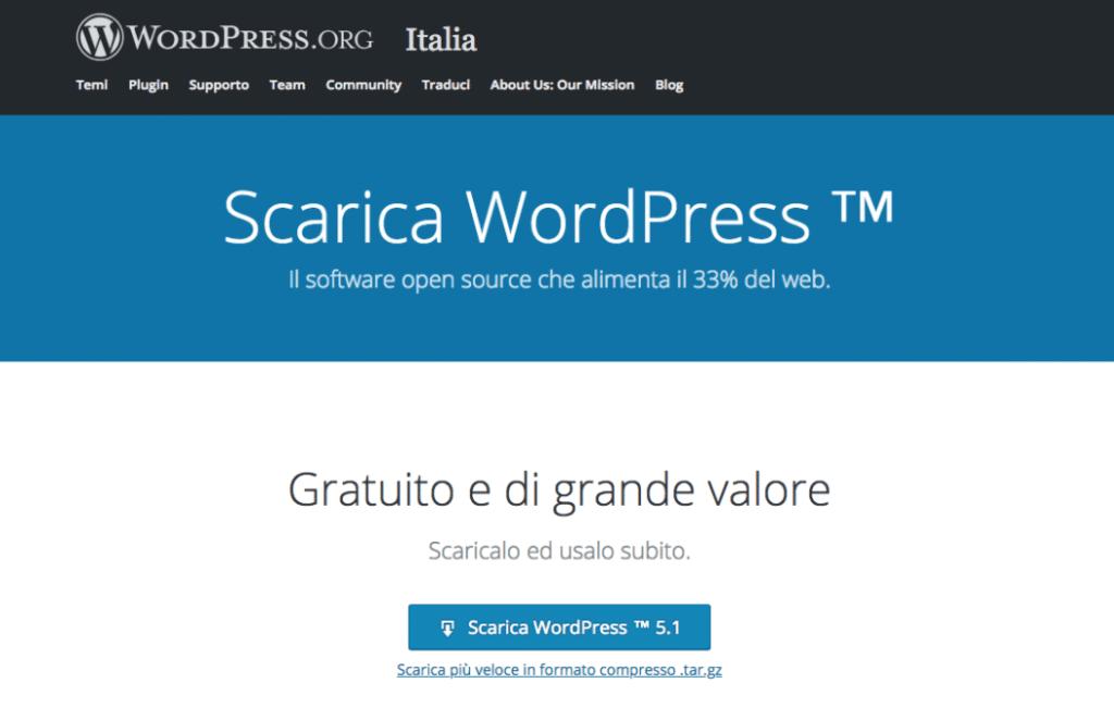 Scaricare il core su https://it.wordpress.org e installare WordPress